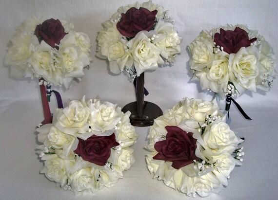 Ivory & Plum Roses Silk Wedding Bridal / Bridesmaids / Bouquet
