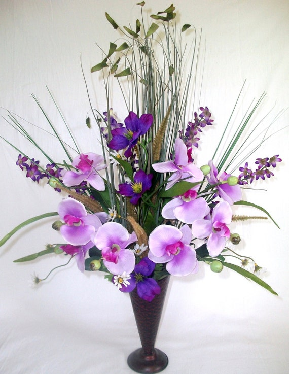 Orchid & Alstroemeria Silk Flower Floral Arrangement / Centerpiece ( purple )