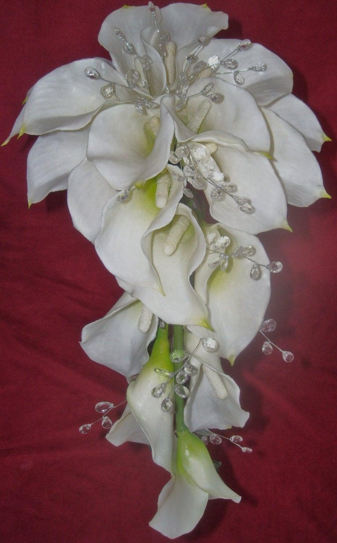 latex calla lily and gemstone wedding cascading bouquet