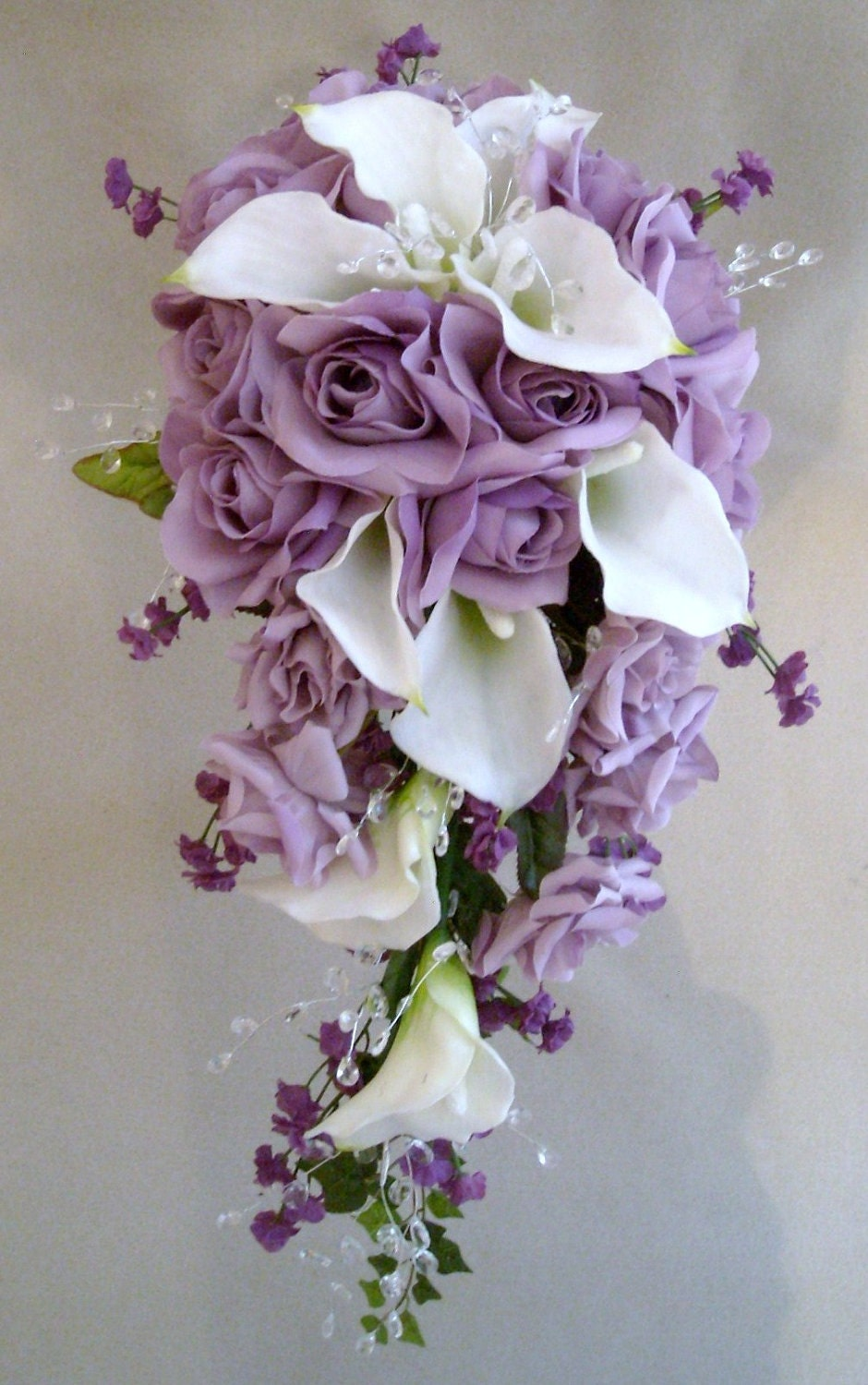 Calla lilys and lavender roses wedding cascading bouquet 9 for Bouquet de fleurs nature