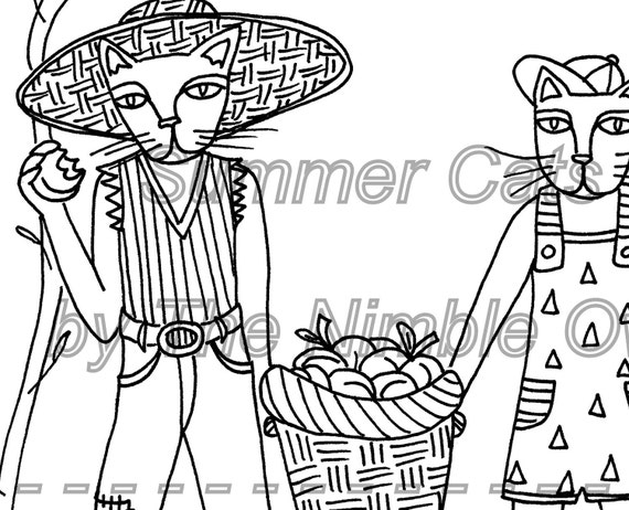 "Printable Coloring Page - Summer Cats - ""Peach Picking Fiends"" - downloadable PDF"