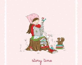Story Time Illustration - Pink