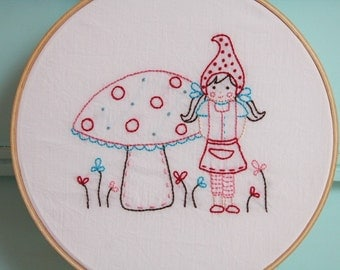 Little Gnomie Embroidery PATTERN - Girl