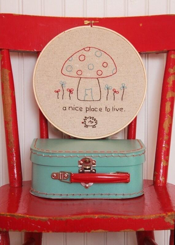 Mushroom House Embroidery PATTERN