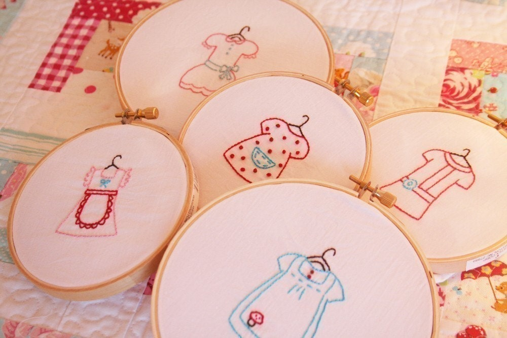 Dresses embroidery pattern set of