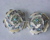 Vintage  clip earrings   blue and green rhinestones on Sale