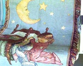 Sleepy time Child  Woven Blanket Throw  Sale 40% off    Was 14 now only 9  Moon Stars Teddy bear