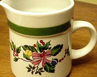 Christmas  Pitcher/Creamer made in  Japan red berries green  on Sale