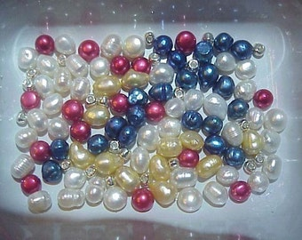 Multicolor FW Pearls Bead mix   Red White  Blue
