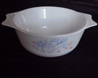 TWO Pyrex  England casserole bowls Blue Iris  Shabby Cottage Chic  Charm