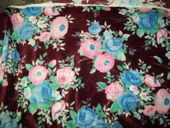 1 and one half yards vintage brown velour fabric material with floral design