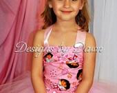 Custom Made Pink Dora The Explorer Dress. Corset top, tutu skirt, tiara and pink satin gloves. Size 12m-5T custom sizes available