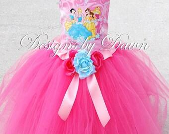 Custom Handmade Disney Princess Dress. Skirt, Corset Top, Headband with Hair clip. Sizes 6m-10