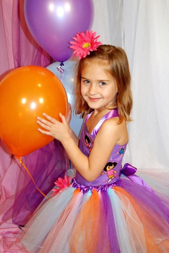 Custom Made Purple Dora The Explorer Dress. Corset top, TUTU Skirt and hair piece. Size 12m-5T