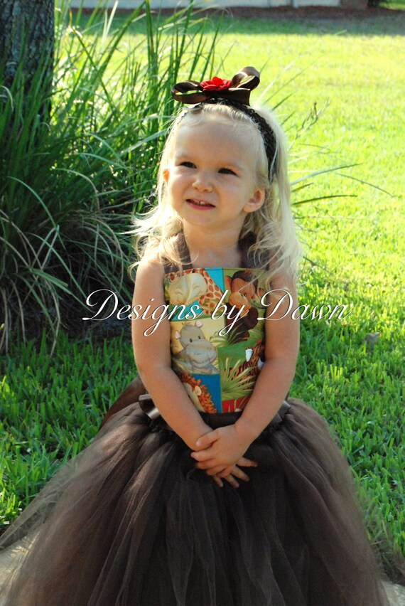Zoo animal dress. Corset top with floor length tutu skirt. Size 12m-5T..custom sizes and colors available