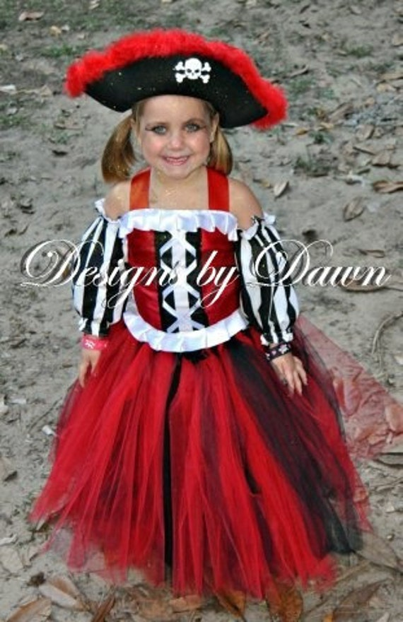 Custom Made Pirate Costume. Corset top,sleeves, skirt, hat. Size 12m-5T. Custom sizes and colors available