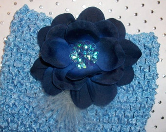 Baby Infant Blue Waffle Halter Tube Top with Flower Sequin Clip