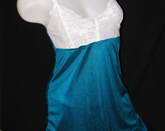 Teal Blue with White Lace Lingerie Set