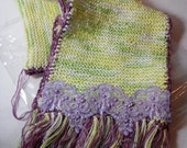 2nd in the Decorated Scarves Series - Variagated Shades of Lime and Purple
