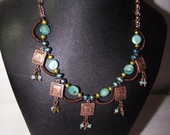 Egyptian Style Pearl and MOP Necklace
