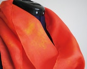 Hand-dyed Silk Orange Scarf - Hand dyed long soft Great Gift