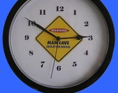 """Man Cave Warning 10"""" Wall Clock"""