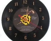 45 Record Clock Elvis Presley Love me Tender Recycled Vinyl Music Collectible