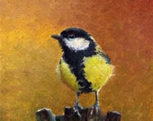 Great Tit 6X6 ins original oil painting