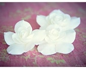 ONE  Gardenia hair clip for Bride, Bridesmaids or Flower girl, Bridal wedding flower hair pins