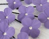 RESERVED  Lavender Hydrangea flower hair pins with Swarovski rhinestones or pearls set of 6