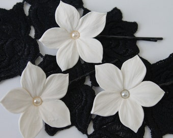 3 Ivory stephanotis flowers with Swarovski pearls hair pins