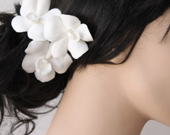 Set of 3 White or Ivory Orchid Hair flowers (other colors available)