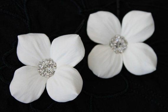 "3 (Three) Ivory  Hydrangea flower hair pins with Rhinestones set of 3 (2.2"" in diameter each)"