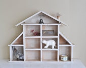 Reserved for leahpipe // Vintage Wooden House Knick Knack Wall Shelf