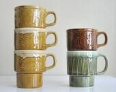 Five Vintage Made in Japan Ceramic Stacking Mugs