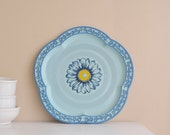 Thick Blue and Yellow Flower Bakelite Tray Vintage