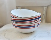Reserved for Julie Salvesen // Four Vintage Celebration Club Made in Norway Red, White and Blue Enamel Bowls
