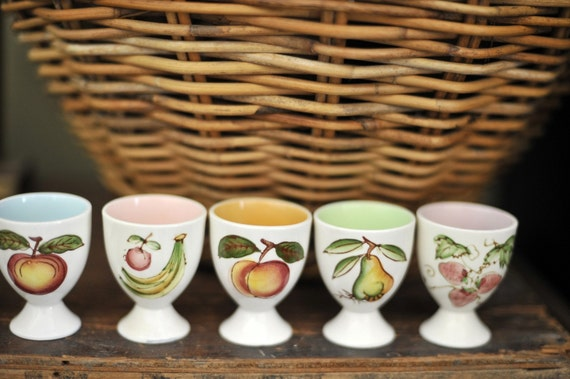 Six Collectible Vintage Porcelain Hand Painted with Fruit Egg Cups