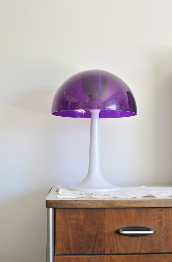 1960s Vintage Table Top Mushroom Lamp With Purple Lucite Shade