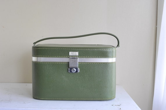 Reserved for Jody Cawley // Amelia Earhart Olive Green Train Carry On Suitcase with Mirror