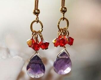 Earrings, Amethyst and Swarovski Crystals