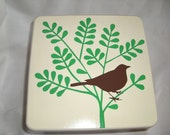Custom Cream/Spring Green/Chocolate Brown Mazzchop Designs hand painted Bird with Smoke Bush step stool for Sarah