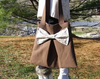 SALE Bow canvas tote bag