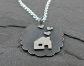 Silver House Necklace. Heart House Pendant. Home Sweet Home.