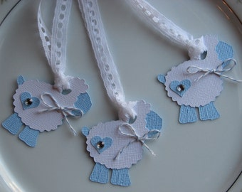 Set of 50, Baby Lamb Gift Tags, Baby Blue, Die Cut Embellishment Tag