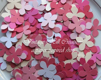1000 Hand Punched Hydrangea Flower Confetti -Pinks- Die Cut Punch Embellishment
