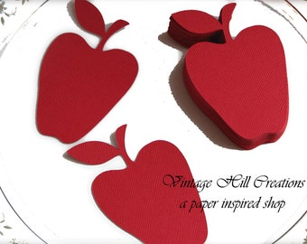 50 Candy Apple Red Die Cuts - Wedding Place card, Escort card, Wish tree tags