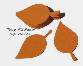 50 Paper Leaf - Leaves- Intense Orange - Place Card, Escort Card, Die Cut Tags