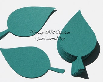 200 Paper Leaf - 4 inch Leaves- Teal Wedding - Place Card, Escort Card, Die Cut Tags