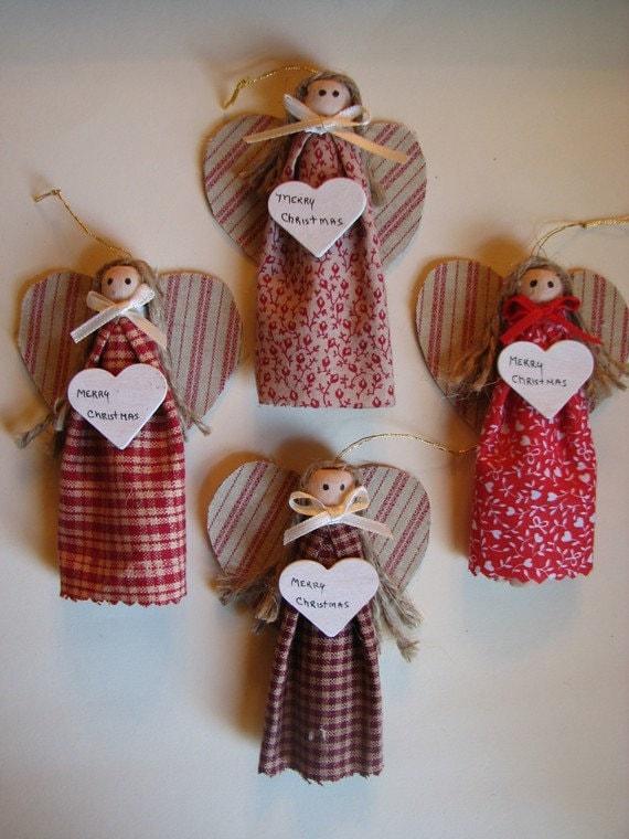 Items similar to Handmade Angel Christmas Ornaments, Set ...